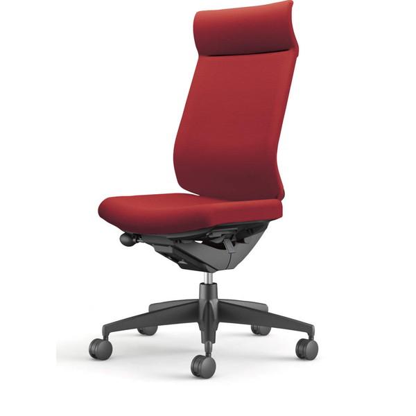 【受注生産品】コクヨ(KOKUYO) オフィスチェア Wizard3(ウィザード3) ミドルマネージメント ブラックシェル 樹脂脚(ブラック) 布張 肘なし カーマイン CR-G3624F6G4A8-W