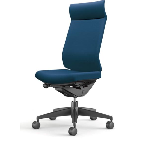 【受注生産品】コクヨ(KOKUYO) オフィスチェア Wizard3(ウィザード3) ミドルマネージメント ブラックシェル 樹脂脚(ブラック) 布張 肘なし プルシアンブルー CR-G3624F6G4T6-W