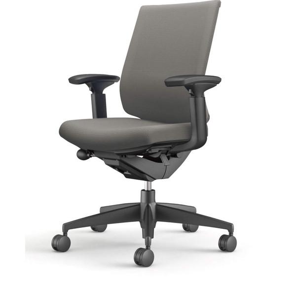 コクヨ(KOKUYO) オフィスチェア Wizard3(ウィザード3) ローバック ブラックシェル 樹脂脚(ブラック) 布張 可動肘 ソフトグレー CR-G3631F6G4E3-W