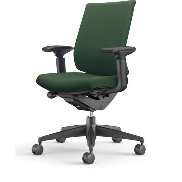 コクヨ(KOKUYO) オフィスチェア Wizard3(ウィザード3) ローバック ブラックシェル 樹脂脚(ブラック) 布張 可動肘 ディープグリーン CR-G3631F6G4Q6-W