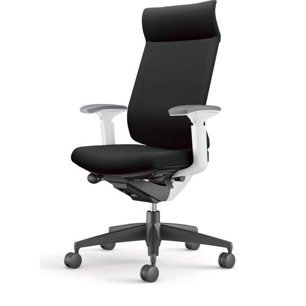 【受注生産品】コクヨ(KOKUYO) オフィスチェア Wizard3(ウィザード3) ミドルマネージメント ホワイトシェル 樹脂脚(ブラック) 布張 可動肘 ブラック CR-G3635E1G4B6-W