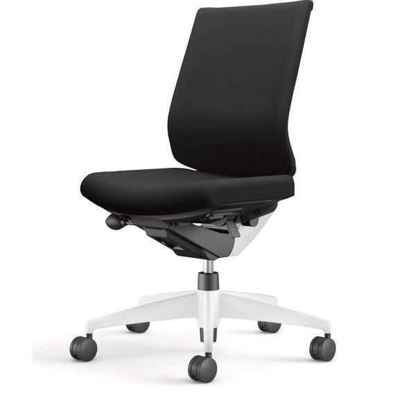 コクヨ(KOKUYO) オフィスチェア Wizard3(ウィザード3) ローバック ホワイトシェル 樹脂脚(ホワイト) 布張 肘なし ブラック CR-W3620E1G4B6-W
