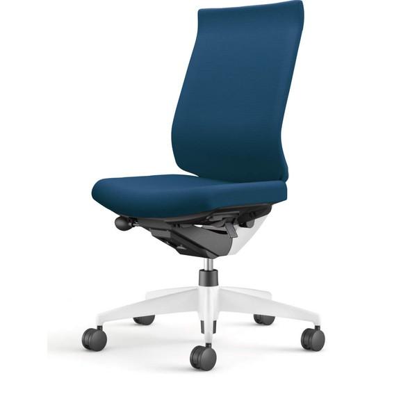 コクヨ(KOKUYO) オフィスチェア Wizard3(ウィザード3) ハイバック ホワイトシェル 樹脂脚(ホワイト) 布張 肘なし プルシアンブルー CR-W3622E1G4T6-W