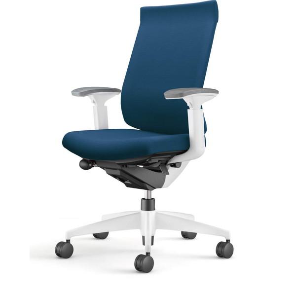 コクヨ(KOKUYO) オフィスチェア Wizard3(ウィザード3) ハイバック ホワイトシェル 樹脂脚(ホワイト) 布張 可動肘 プルシアンブルー CR-W3633E1G4T6-W