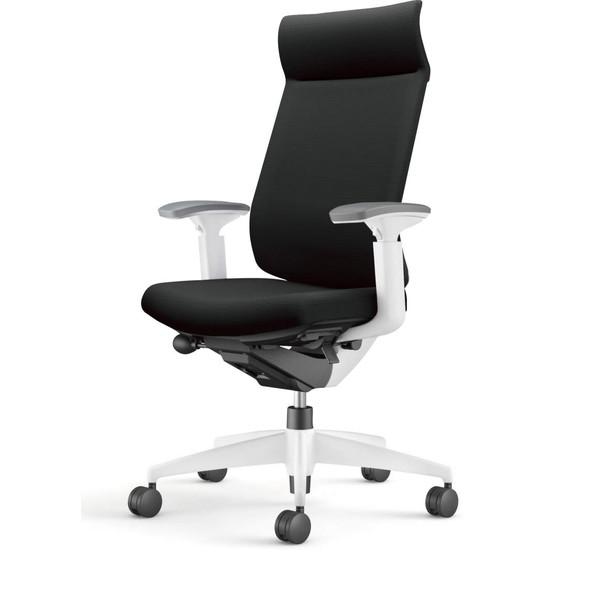 【受注生産品】コクヨ(KOKUYO) オフィスチェア Wizard3(ウィザード3) ミドルマネージメント ホワイトシェル 樹脂脚(ホワイト) 布張 可動肘 ブラック CR-W3635E1G4B6-W