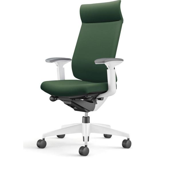 【受注生産品】コクヨ(KOKUYO) オフィスチェア Wizard3(ウィザード3) ミドルマネージメント ホワイトシェル 樹脂脚(ホワイト) 布張 可動肘 ディープグリーン CR-W3635E1G4Q6-W