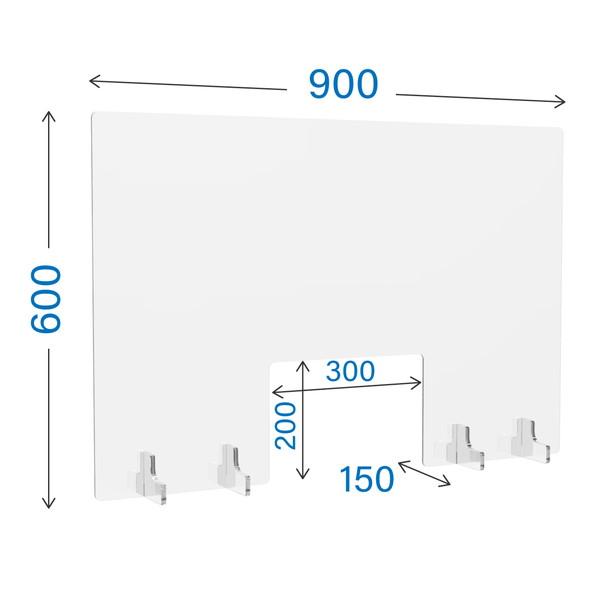 適正な距離を保ち 飛沫感染を防ぐ R Fヤマカワ 当店一番人気 アクリル衝立 クリアタイプ AP-9060 最安値 W900×D150×H600mm 窓付き