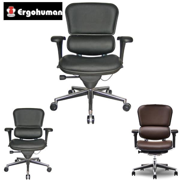 エルゴヒューマン ベーシック ロー・革張り EH-LAL [オフィスチェア 高機能チェア メッシュチェア メッシュバック 昇降機能 伸縮 高さを変える おしゃれ 革張り オフィス家具 チェア 椅子 いす OAチェア デスクチェア]