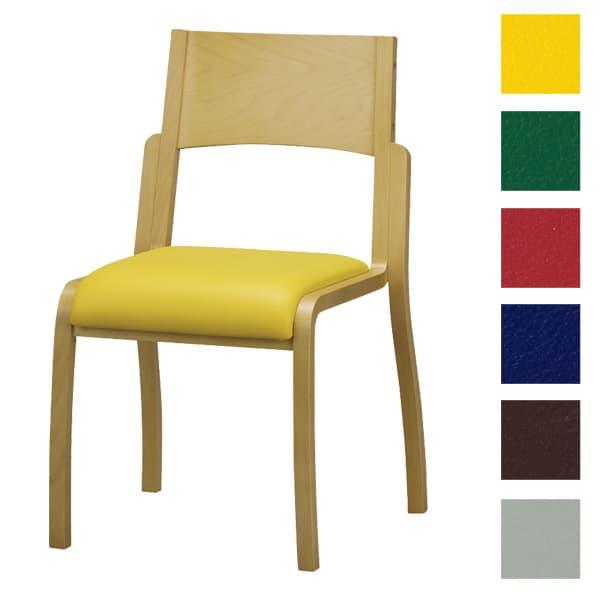 サンケイ 木製椅子 教育用椅子 4本脚 ウレタン塗装 肘なし ポリオレフィンレザー張り CM406-WNX [いす イス 福祉施設用家具 チェア オフィス家具 オフィス用 オフィス用品]