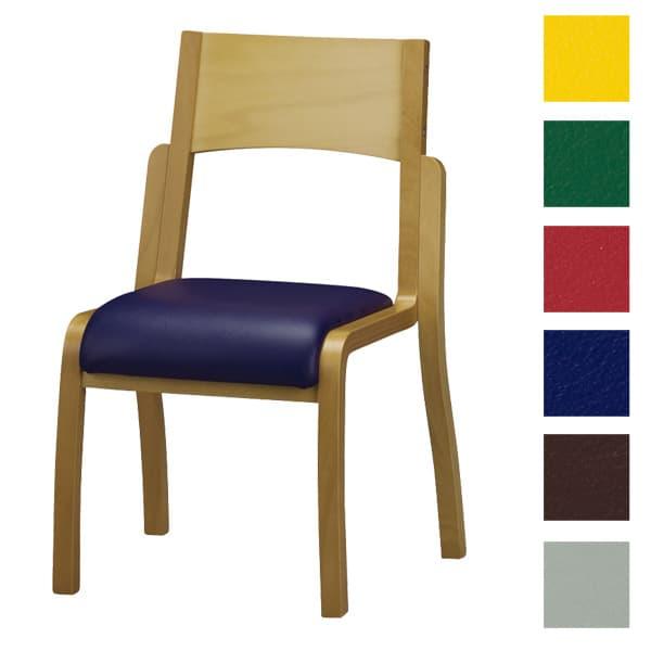 サンケイ 木製椅子 教育用椅子 4本脚 ウレタン塗装 肘なし ポリオレフィンレザー張り CM404-WNX [いす イス 福祉施設用家具 チェア オフィス家具 オフィス用 オフィス用品]
