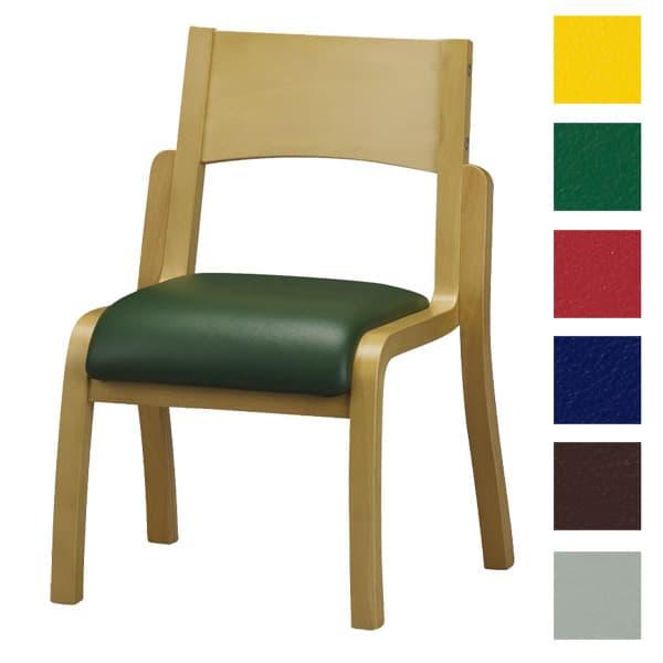 サンケイ 木製椅子 教育用椅子 4本脚 ウレタン塗装 肘なし ポリオレフィンレザー張り CM402-WNX [いす イス 福祉施設用家具 チェア オフィス家具 オフィス用 オフィス用品]