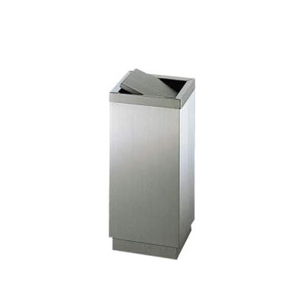 回転ふた付きのステンレス製ダストボックス ライオン事務器 ダストボックス W275×D275×H605mm KD-270S 586-51 [収納家具 オフィス収納 ダストボックス ゴミ箱 ごみばこ クズ入れ 屑入れ くずいれ オフィスアクセサリー オフィス用品 オフィス用 オフィス家具]