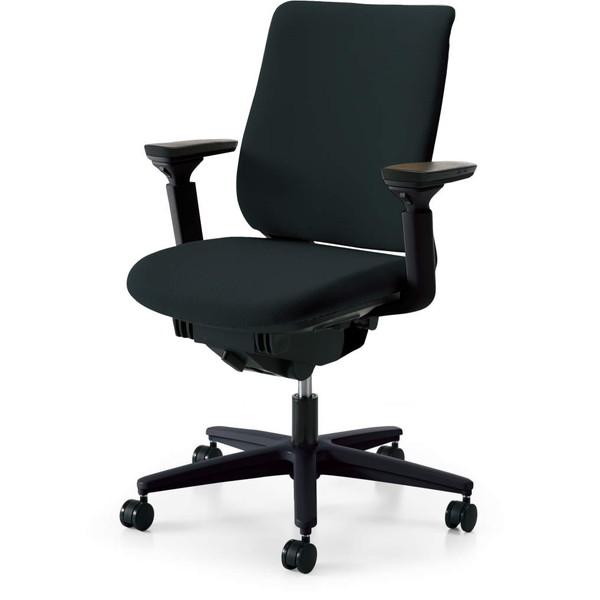 コクヨ(KOKUYO) オフィスチェア Mitra(ミトラ) スタンダードバック ブラックフレーム 樹脂脚(ブラック) ファブリックタイプ 可動肘 ブラック CR-G3311E6G9B6-W