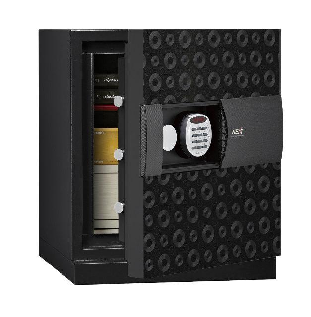 ディプロマット・ジャパン 次世代型耐火金庫 NEXT デジタルテンキー式耐火・防盗金庫 DPS5500-BK ブラック A4対応 1時間耐火 R3デジタルロック搭載 UL防盗基準クリアモデル ビルトイン・アラーム容量52.2L