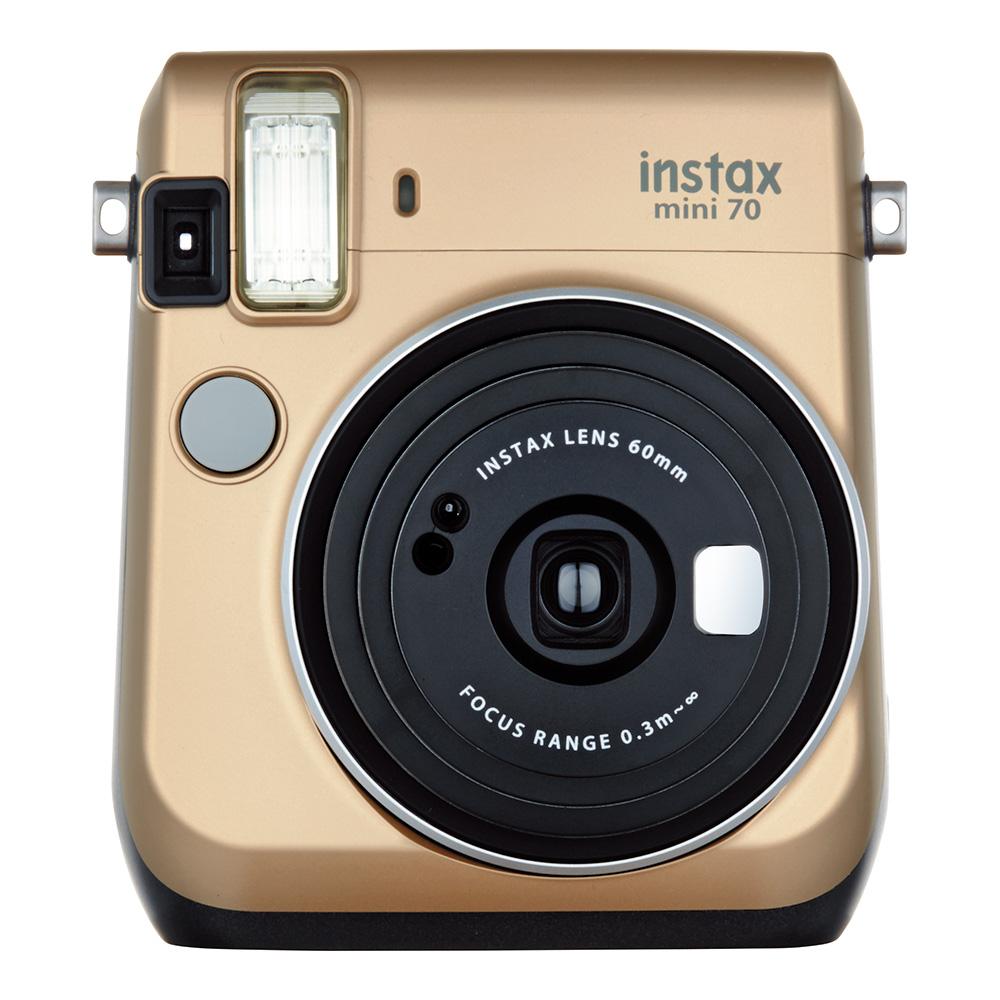 """【ラッピング無料】【送料無料】富士フイルム """"チェキ""""instax mini70N ゴールド チエキカメラ INS MINI 70N GOLD"""