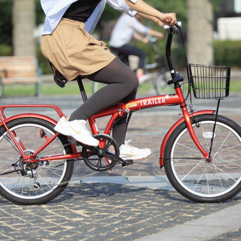 【送料無料】HANWA(阪和) 20インチ カラフル折りたたみ自転車 6段変速 カゴ/カギ/ライト付 TRAILER BGC-F20-RD レッド