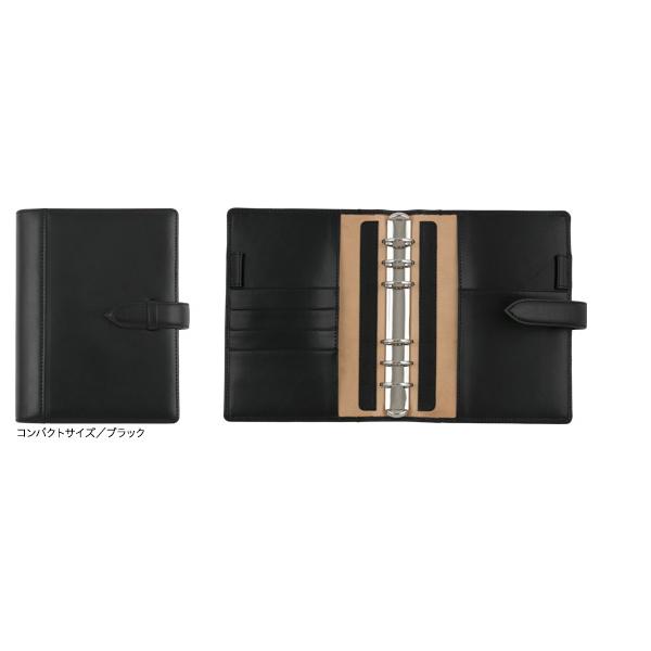 フランクリン・プランナー イタリアン・レザー・バインダー ブラック コンパクトサイズ 63392
