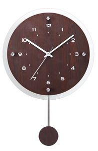 ノア精密 インテリアクロック 振り子付電波掛時計 アンティール 壁掛時計:ブラウン W-473 BR 【送料無料】