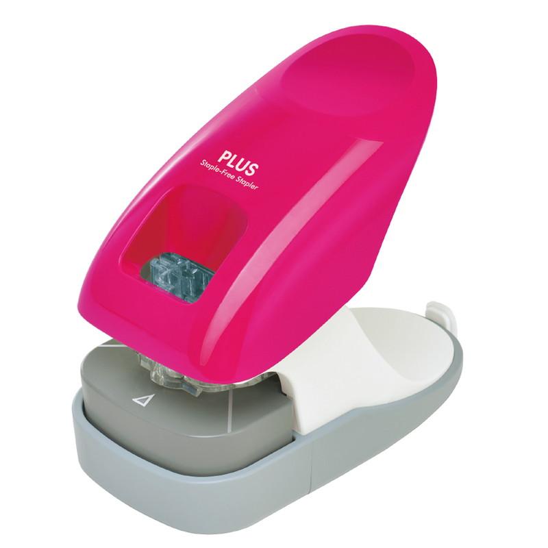 プラス PLUS 針なしホッチキス ペーパークリンチ 卓上型 高級 12枚綴じ 定番スタイル 31-212 2穴ファイリング対応ゲージ付 SL-112A ピンク