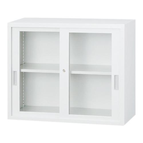 【送料無料】HK-A4ガラス引違書庫(H730) 上置き用 キャビネット ホワイト 書棚 本棚 オフィス収納 オフィス家具 選挙 事務所 2121141