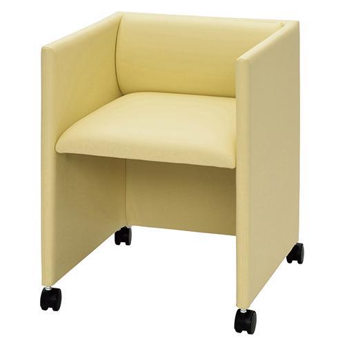 キャスター付応接チェア 幅515 奥行540 高さ660 座面高さ463mm アイボリー ダークブラウン RFヤマカワ 応接チェア チェア 椅子 イス いす RF-RFC-FPRP