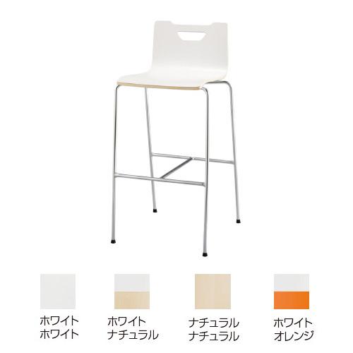 【送料無料】フークチェアカウンター脚塗装タイプ 表ホワイト/裏ホワイト