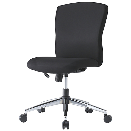 JUCシリーズ 布チェア(肘無)(スチール脚) ブラック 井上金庫 JUC-06M 幅485 奥行685 高さ868-948(座面高さ400-480) デスクチェア パソコンチェア チェア 椅子 イス いす