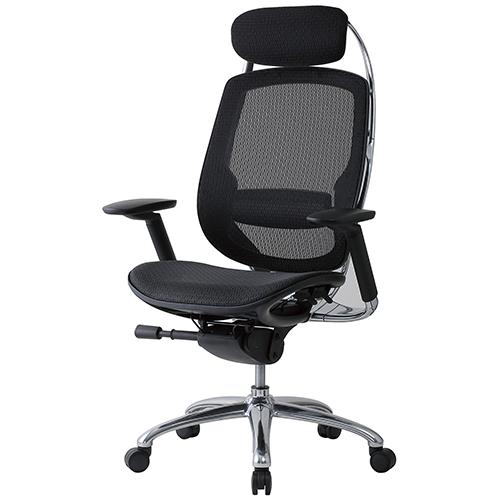 OAFシリーズ ハイクラスチェア(上下可動肘付) 井上金庫 OAF-09A 幅725 奥行600 高さ1180-1250(座面高さ460-530) デスクチェア パソコンチェア メッシュバックチェア メッシュ チェア 椅子 イス いす