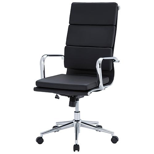 オフィスチェア クッション付きハイバックタイプ 幅570 奥行640 高さ1035-1115(座面高さ440-520)mm ブラック 井上金庫 デスクチェア パソコンチェア オフィスチェア チェア 椅子 イス いす クッション付き 肘付き IK-APS-H04