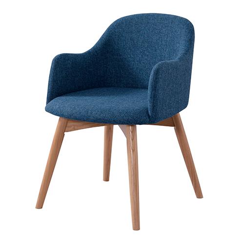 ミーティングチェア 幅500 奥行550 高さ730(座面高さ430)mm ブルー グレー 井上金庫 ミーティングチェア コンセプトチェア ダイニングチェア カフェチェア チェア 椅子 いす イス おしゃれ 布 天然木 IK-AZIN-010