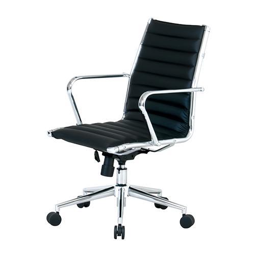 【送料無料】オフィスチェア PLCシリーズ120L ブラック 会議用 ローバック 合成皮革張り KE-PLC-120L