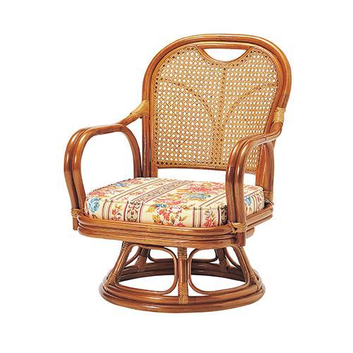 ラタン 回転椅子 ロータイプ 幅520×奥行570×高さ690×座面高290 弘益 回転座椅子 回転いす 座椅子 回転式 肘掛け 高座椅子 回転 椅子 ラタンチェア 籐の椅子 籐椅子 アジアン 座椅子 チェア KE-R-290S