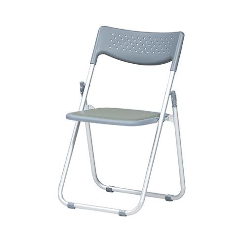 6脚セット アルミ折り畳みイス クッションパッド付き 幅505 奥行450 高さ775 座面高さ400mm グレー 弘益 折りたたみ 軽量 事務 6脚 折り畳みチェア 折り畳み椅子 折りたたみ椅子 パイプ椅子 KE-AFC-2APU-GR-6