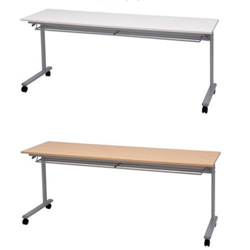 SSTスタッキング会議テーブル 幅1800 奥行600 高さ700mm ホワイト ナチュラル 折り畳みテーブル 折りたたみテーブル ハイテーブル デスク コンパクト ミニテーブル 折りたたみ パソコンデスク ハイタイプ 机 ローテーブル 1148140