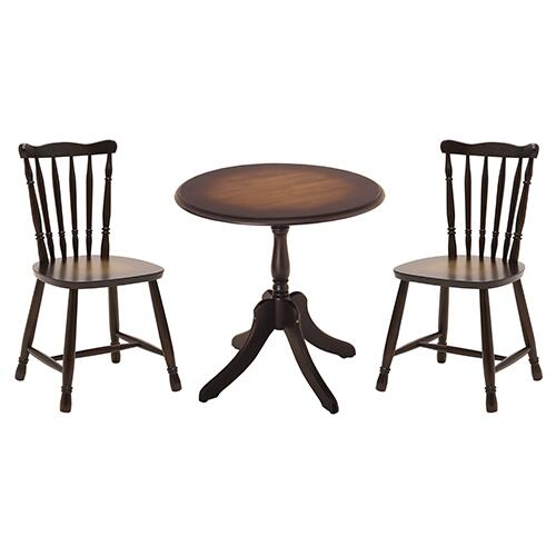 【Roanne】アンティークテーブル3点セット 幅700 奥行700 高さ700mm ヤマソロ ブラウン おしゃれ 円形 ローテーブルダイニングテーブル 一本足 YS-82-631