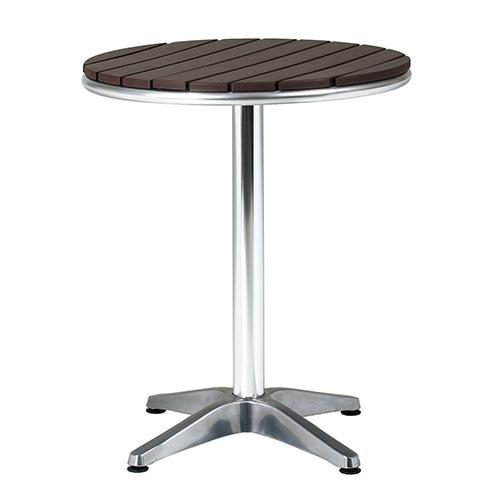 アルミテーブル 直径600×高さ725mm ブラウン 弘益 テーブル アルミテーブル ラウンジテーブル ガーデンテーブル 丸型テーブル 机 カフェ KE-AL-P60RT