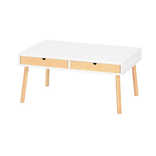 エム 引き出し付きセンターテーブル 幅750×奥行500×高さ355mm ローテーブル ホワイト 引き出し 木製 天然木 机 リビング おしゃれ 人気 ツートンカラー KE-EM-750
