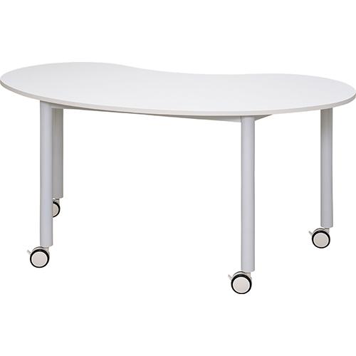 キャスターテーブル ホワイト脚 豆型 幅1467×奥行761×高さ700mm ホワイト ナチュラル RFヤマカワ ミミーティングテーブル 台形 ワークテーブル 作業台 事務机 オフィスデスク 会議用テーブル 会議机 RF-RFCTT-WL1476BN