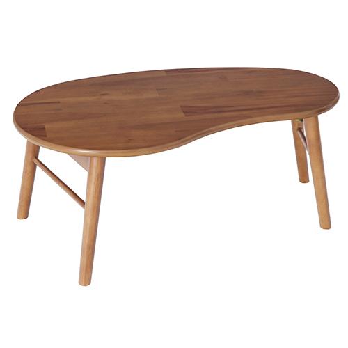 折脚テーブル(豆型)【Bricky】 ナチュラル アカシア材突板・MDF・ラバーウッド材 ナチュラル ヤマソロ 折りたたみ 北欧 おしゃれ 木製 テーブル ミニテーブル 折りたたみテーブル ローテーブル センターテーブル YS-82-661