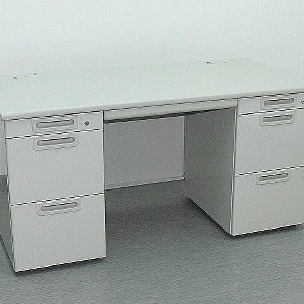 両袖 デスク 机 送料無料 パソコン テレワーク 販売実績No.1 パソコンデスク オフィスデスク 中古 鍵作成付 両袖デスク DR-503475B プラス エルグレー 3 ∴両袖デスク LA 3段袖