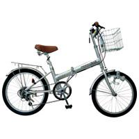 20型6段変速付 折りたたみ自転車 【東部】894083シルバー 【代金引換不可】【メーカー直送】