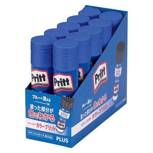 スティックのり カラープリット カラー Pritt ミディアム 10個入×10個 1箱(100本) NS-732【プラス PLUS】内容量:約20g 固形のり