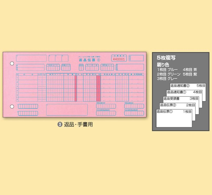 チェーンストア統一伝票Y10.5×T5 返品・手書き用P50107お買い得10箱パック
