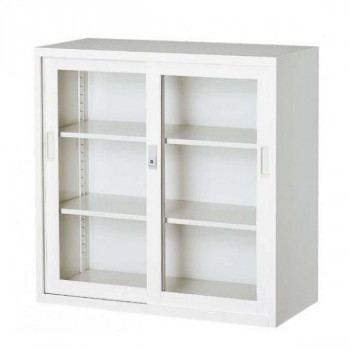 (代引き不可)(同梱不可)オフィス向け 一般書庫・ホワイト 3×3型引違書庫 3号ガラス戸 COM-303G-W