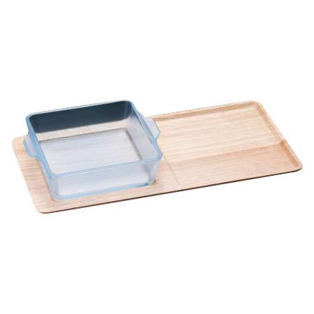 木製トレーとセットになった耐熱ガラス製ロースター グラタン皿 食器 ロースター ランチ プレート 小さめ ワンプレート おしゃれ 一人用 記念日 K-9511 スクエアS セラベイク セラミックコーティング耐熱ガラス 木トレーセット 最安値挑戦 丈夫 シンプル 同梱不可