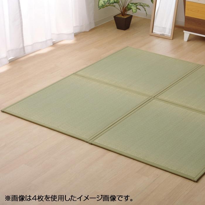 (同梱不可)純国産 い草 ユニット畳 『かるピタ』 グリーン 約82×82cm 6枚組 8905030