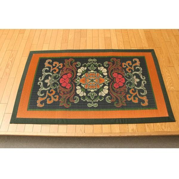 (同梱不可)純国産 い草ラグカーペット 『華紋草』 約88×150cm 1708410