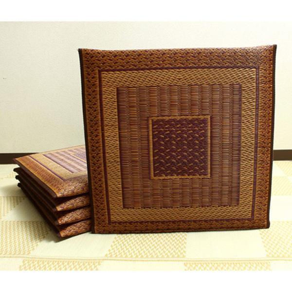 (同梱不可)純国産 袋織 千鳥い草座布団 『ランクス 5枚組』 ワイン 約55×55cm×5P 3105750