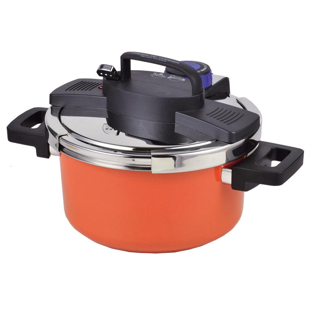 (同梱不可)パール金属 NEWアルミIH対応ワンタッチレバー切り替え式圧力鍋 4.2L(内面ふっ素加工) HB-3296