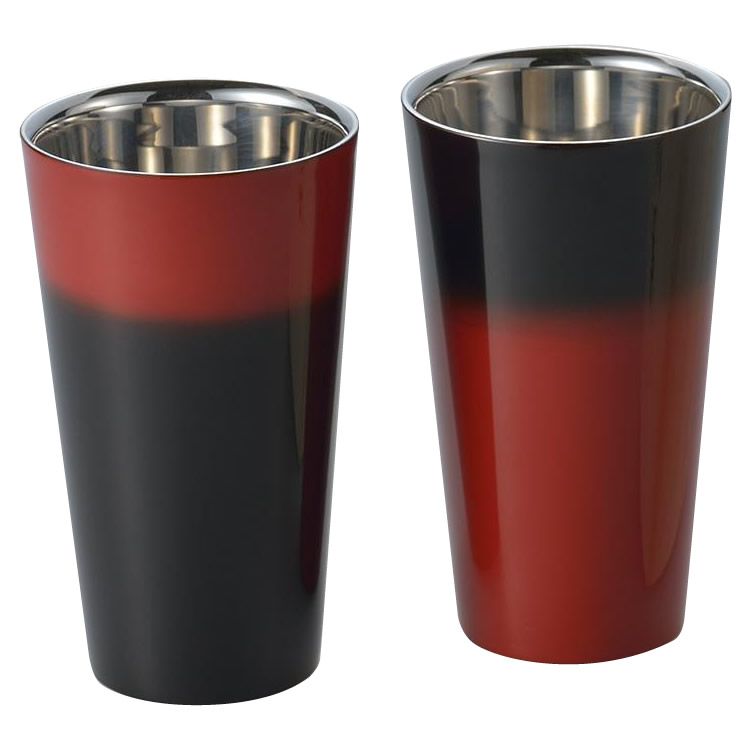 (代引き不可)(同梱不可)漆磨 2重構造ストレートカップ(1客) 手塗り仕上げ